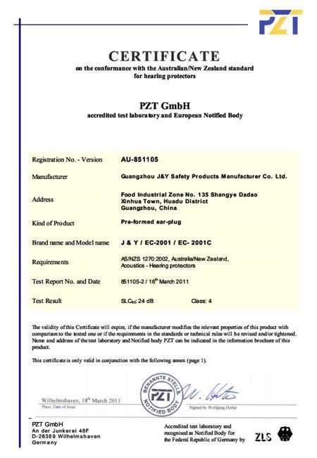 AS/NZS Certificate for EC-2001 and EC-2001C Silicon Earplugs